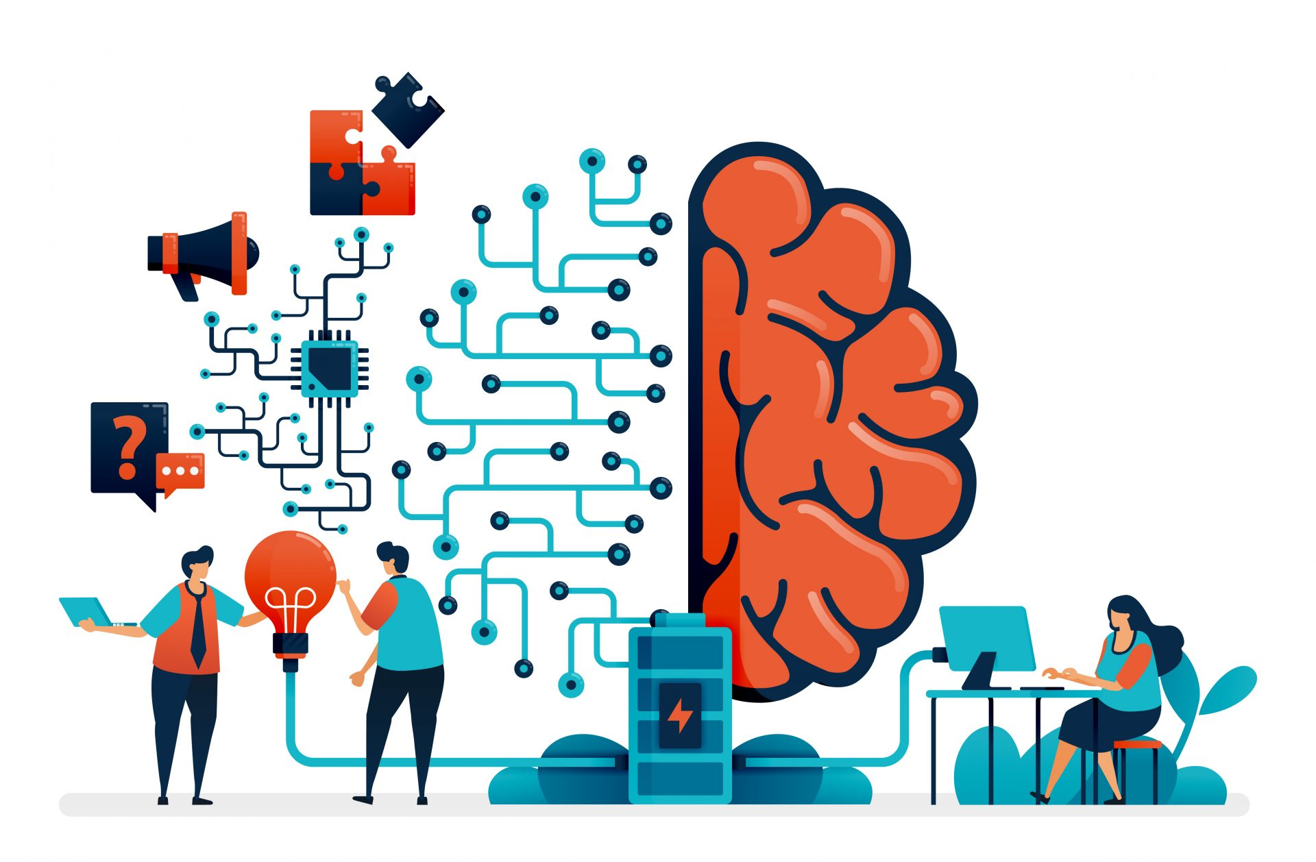 Artificial intelligence for problem solving. Artificial brain network system. Intelligence technology for question n answer, ideas, completing task, promotion. Business card, banner, brochure, flyer